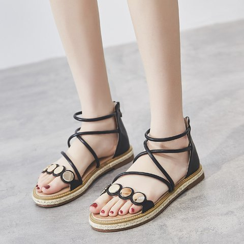 Women Casual Zipper Date Flat Heel Pu Rhinestone Sandals