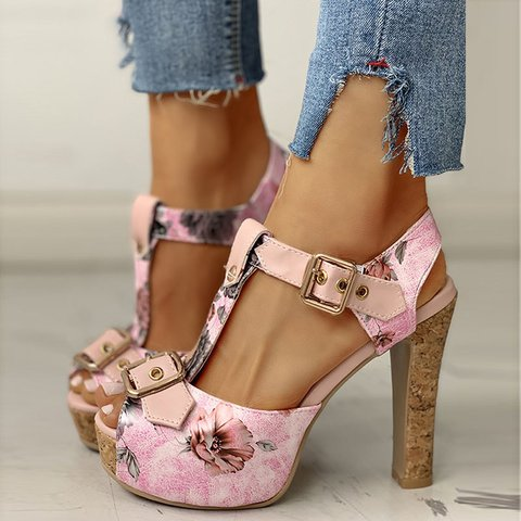 Flower Print High Heel Fish Mouth Platform Sandals