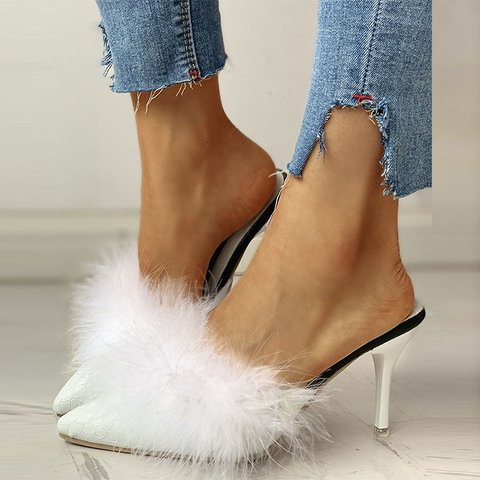 Banquet Fluffy Pointed Toe Thin Heel Slippers
