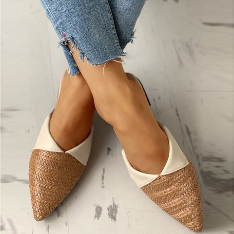Woven Fabric Pointed Slippers