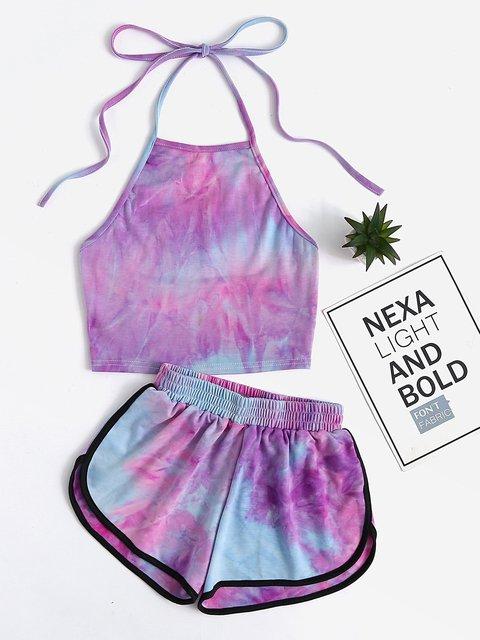 Halter Summer Ombre/tie-Dye Suits