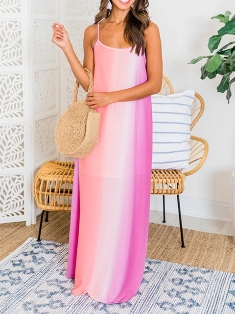 Colorful Gradient Chiffon Bohemian Dress