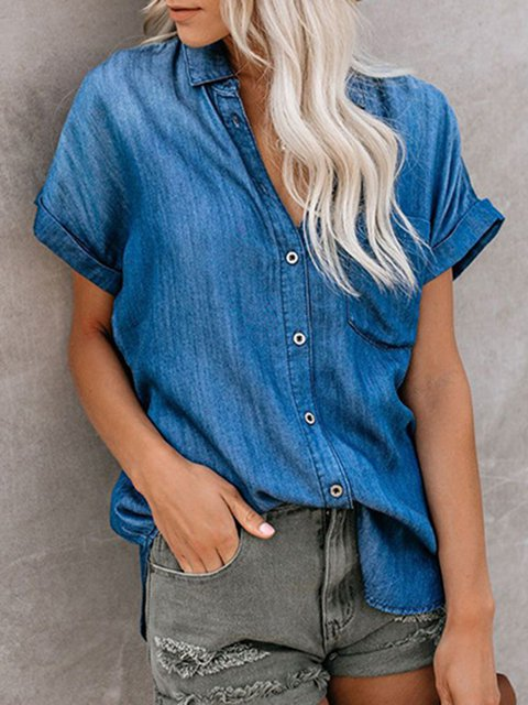 Pockets Denim Shift Casual Top
