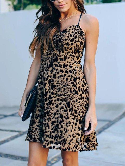 Leopard A-Line Spaghetti-Strap Vintage V Neck Dresses