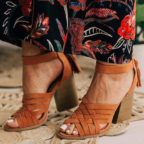 Tassel Chunky Heel Peep Toe Sandals Hollow Zipper Heels