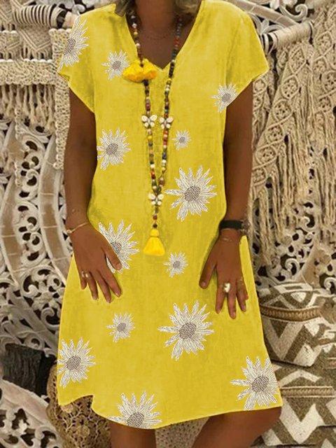 Short sleeve sunflower print A-line dress