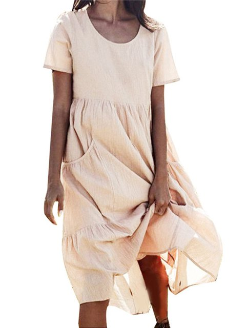 Casual Cotton Crew Neck Short Sleeve Dresses