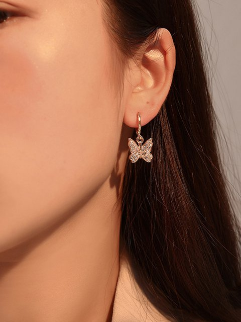 Women Alloy Butterfly Earrings