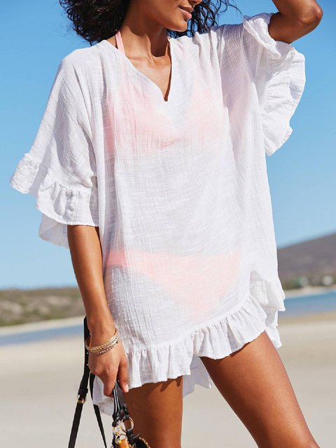 Solid Cotton-Blend Short Sleeve Casual Holiday  Swimwear