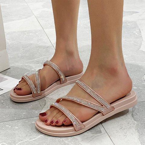 Women Slide PU Casual Rhinestone Sandals