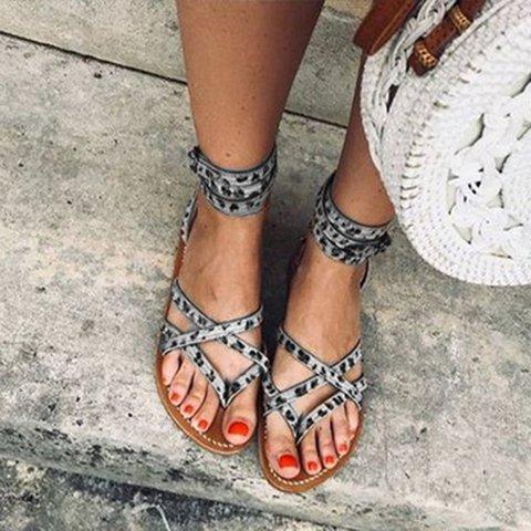 Artificial Leather Flip-flops Summer Adjustable Buckle Gladiator Sandals