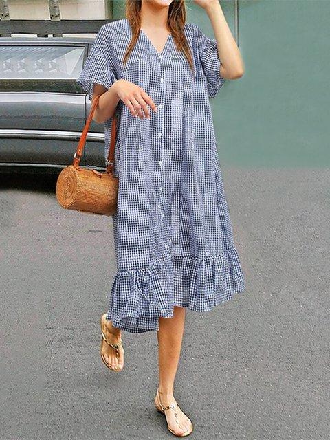 Plaid Print Ruffle Hem Plus Size Dress