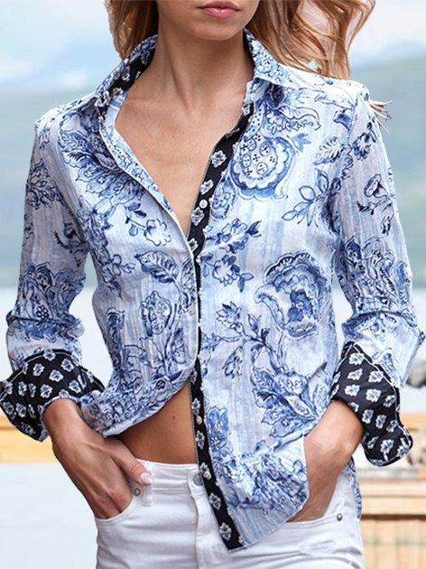 Blue Floral Shift Boho Floral-Print Shirts & Tops