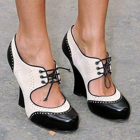 Women Vintage Oxford Heels Cut-Out Lace-Up Shoes