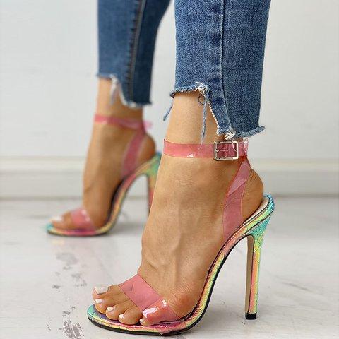 Clear Fluorescent PVC Snakeskin Heel Sandals