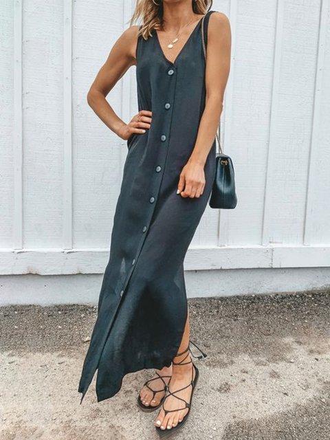 Casual Plus Size Button Down V Neck Sleeveless Maxi Dresses