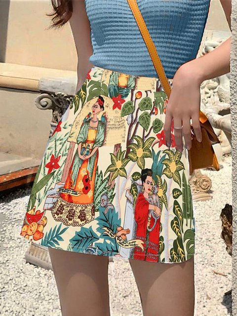 Printed A-line Skirt Character Pattern Step Skirt
