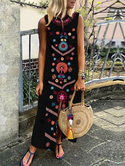 Boho V Neck Cotton-Blend Shift Maxi Dresses