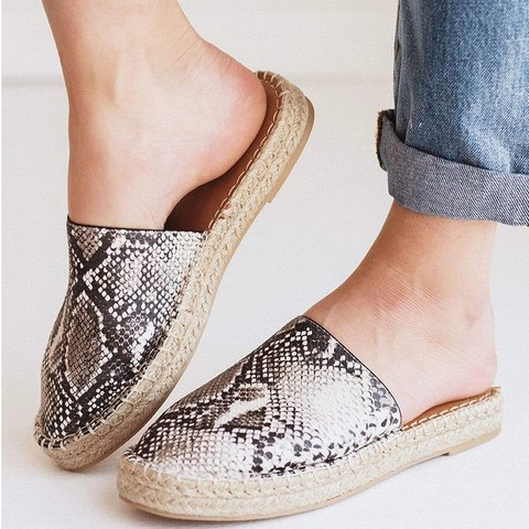 Closed Toe Flat Heel Artificial Leather Slides Espadrille Slippers