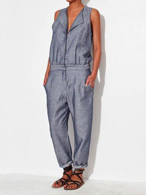 Women Solid Pockets Jumpsuit Plus Size Jumpsuits