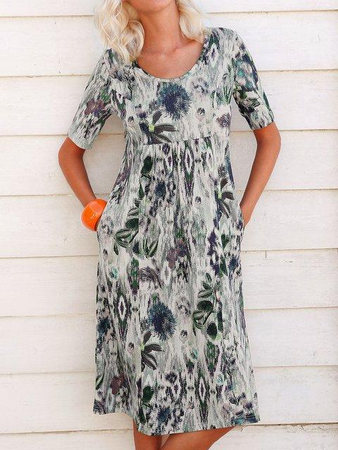 Plus Size Midi Dress Summer Printed Crew Neck Dresses
