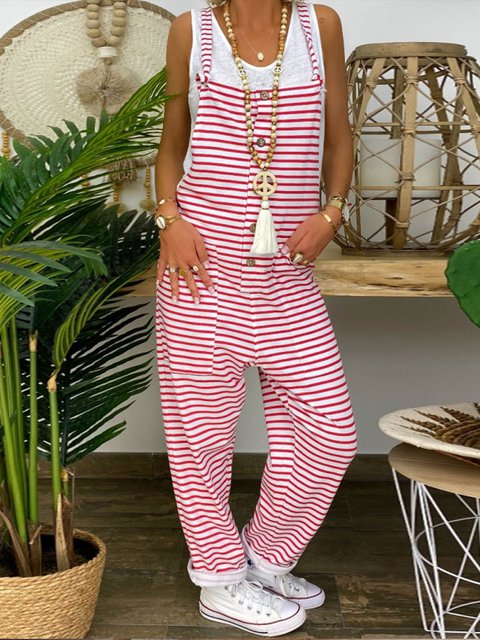 Red Striped Spaghetti-Strap Casual Jumpsuits