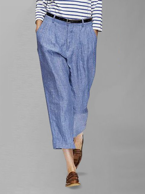 Women Solid Crop Pants Pockets Tapered Trousers