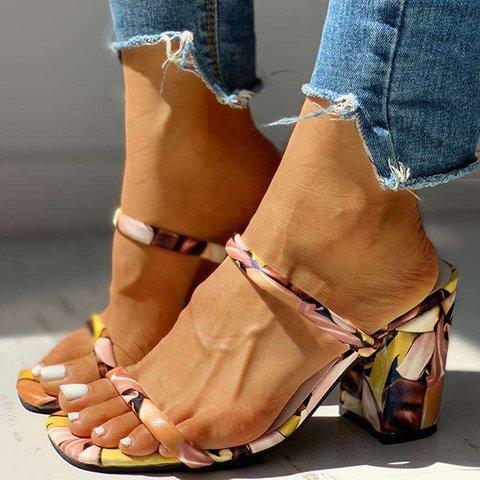 Chunky Heel Slip-On Fashion Slide Sandals Womens Slippers