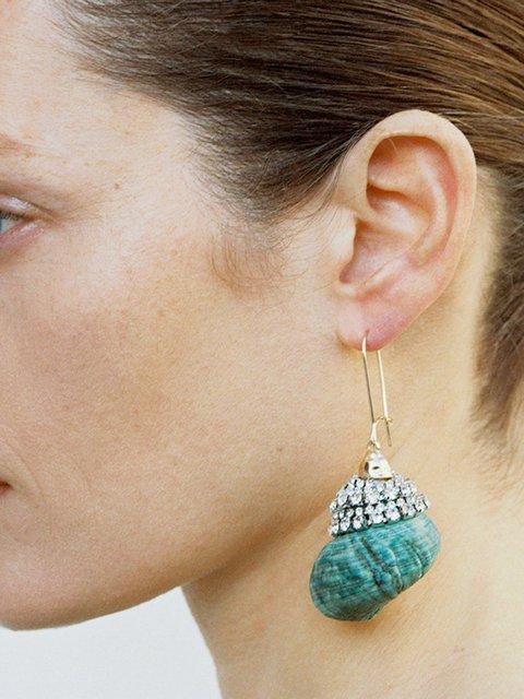Women Rhinestone Conch Shape  Earrings