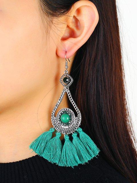 Women Vintage Green Tassel Earrings