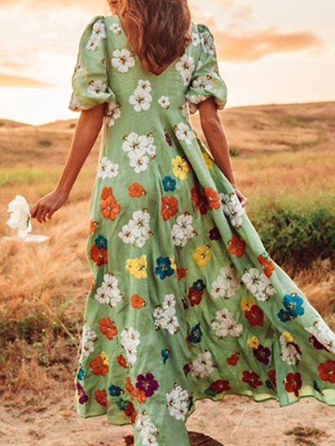 Lightgreen V Neck Printed Boho Patchwork Dresses