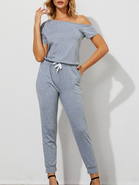 Gray Cotton-Blend Short Sleeve Casual Solid One-Pieces