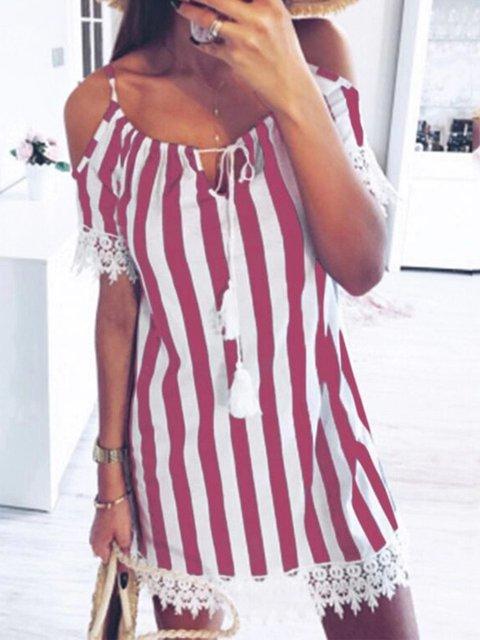 Cold Shoulder Floral-Print Striped Dresses