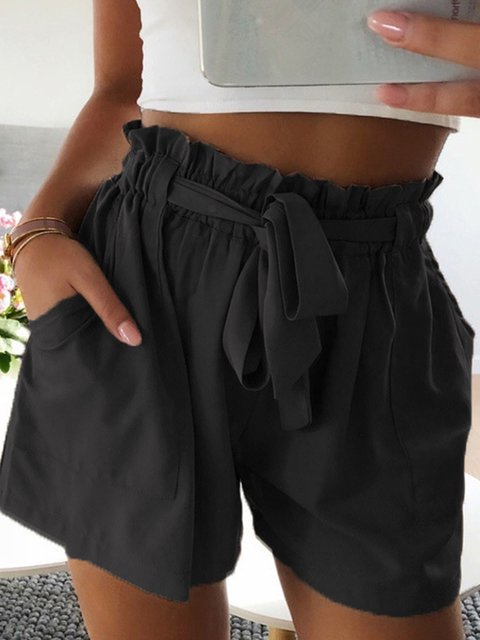 Women's Elastic Waist Casual Plain Shorts