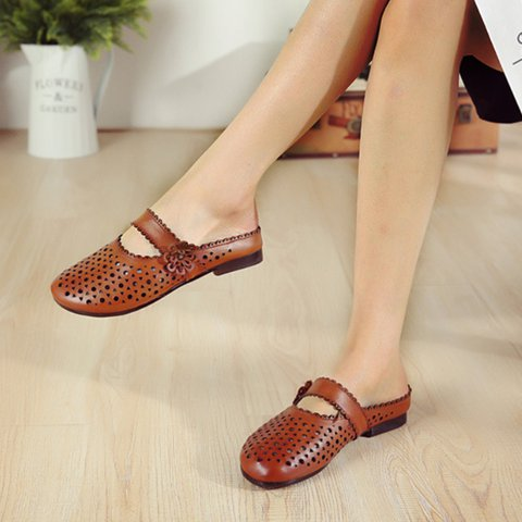Women Round Toe Backless Slide Holiday Hollow-Out Flower Slippers