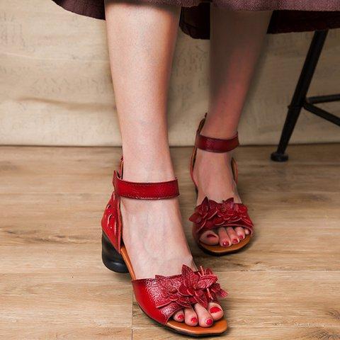 Women Magic Tap Peep Toe Flower Block Heel Sandals