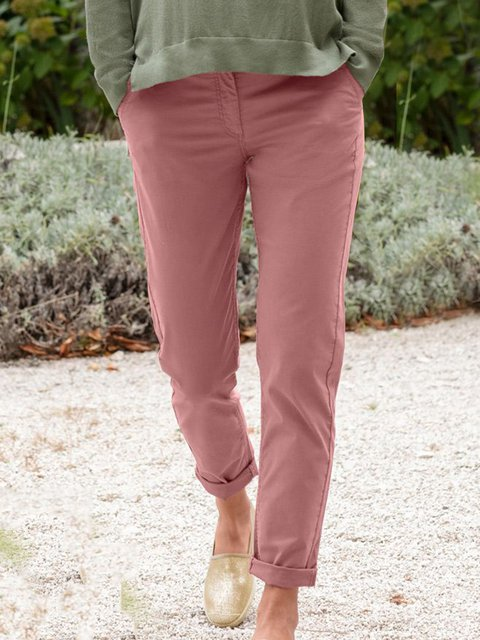 Solid Pockets Pants Women Trousers
