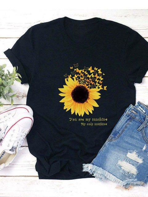 Black Short Sleeve Cotton-Blend Casual Shirts & Tops
