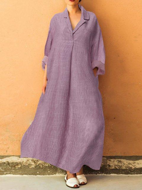 Swing Cotton V Neck Vintage Maxi Dresses