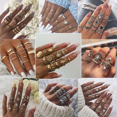 Women Vintage Fashion Bohemian Alloy Ring Sets