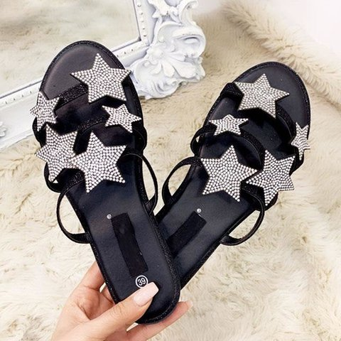 Women Thong Sandals Daily Pu Rhinestone Spring Flat Heel Shoes