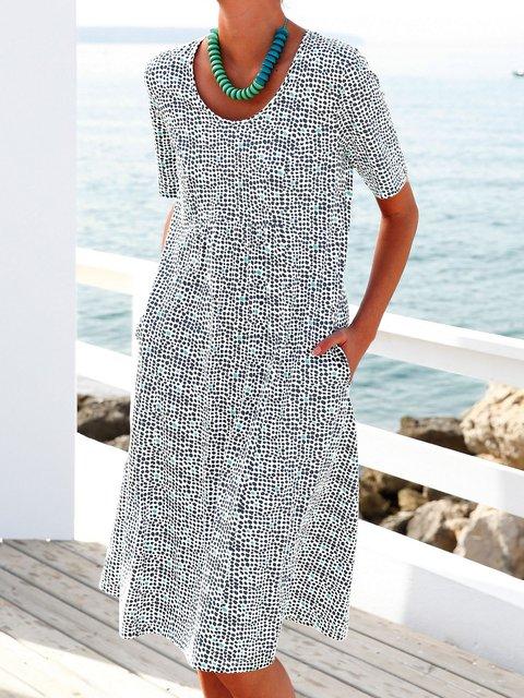 Summer Pockets Midi Dress Women Short Sleeve Dresses