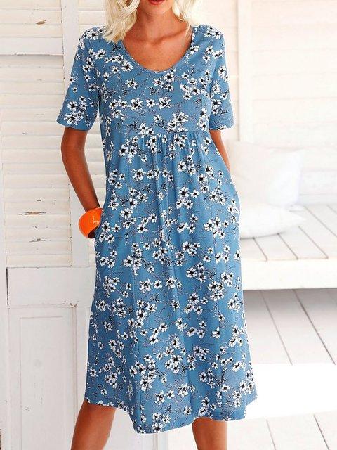 Floral Pockets Midi Dress Plus Size Summer Dresses