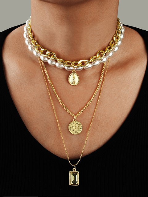 Women Multi-layer Pear Coin Fashion Necklaces