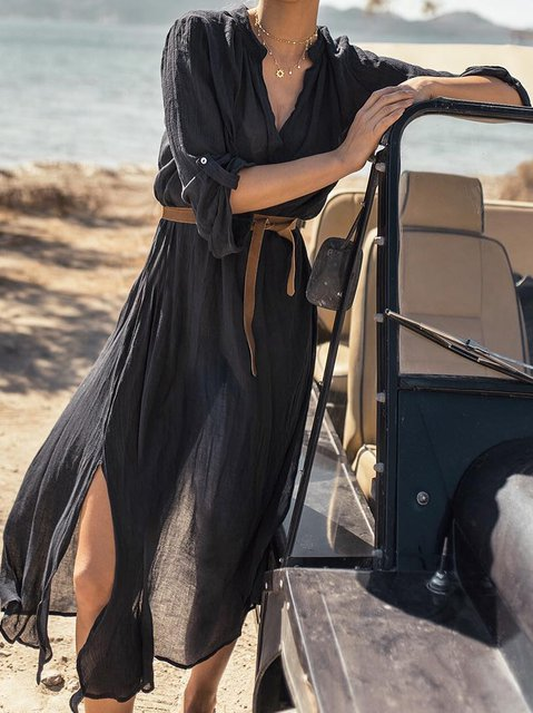 Black Vintage Slit Long Sleeve Dresses