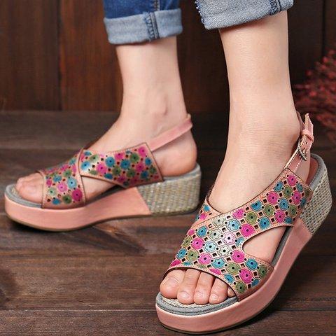 Adjustable Buckle  Printed Platform Open Toe Summer Sandals