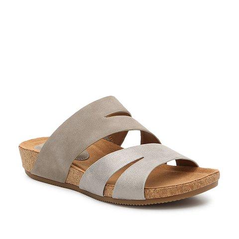 Artificial Leather Block Heel Slippers