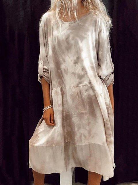 Women Tie-Dye Convertible Sleeves Vintage Casual Dresses
