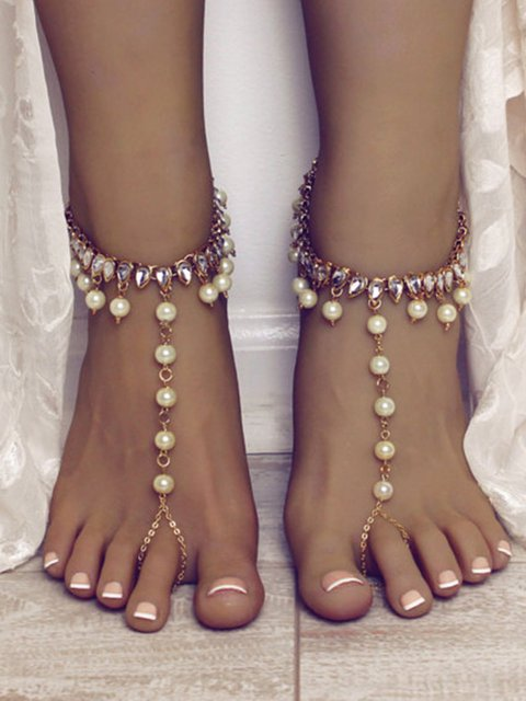 Women Alloy Imitation Pearl Anklets