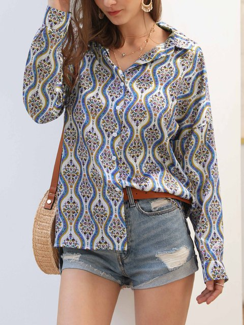 Fashion Casual Long Sleeve Print Blouse